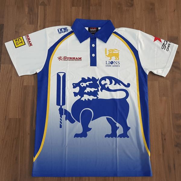 lanka lions polo front 600x600 - Sublimated Cricket Polo
