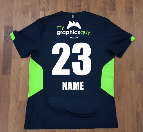Tee with name, logo and number to back