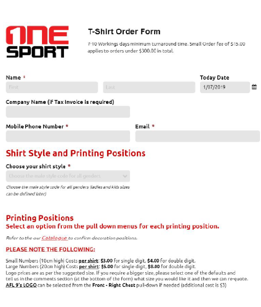 orderform22 - Touch and Oztag Stock Range Tees and Singlets
