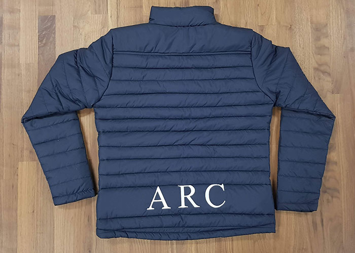 adfa rugby puffer jacket back - Custom Puffer Jacket and Vest