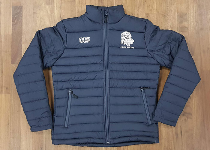 adfa rugby puffer jacket front - Custom Puffer Jacket and Vest